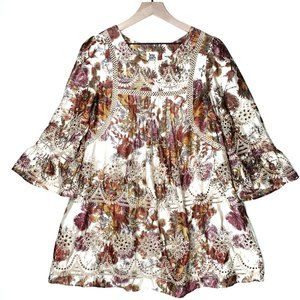 Ivy Jane Satin Embroidered Tunic Bell Sleeve M Ivory Rust Gold